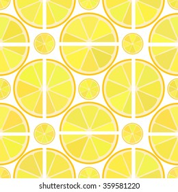 Vector seamless pattern with different juicy citrus lemon slice on the white. Fresh fruit background