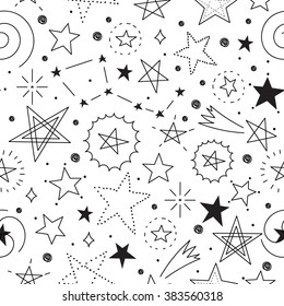 Vector seamless pattern of different kind of stars on white background. Hand drawn doodle style. Space collection.