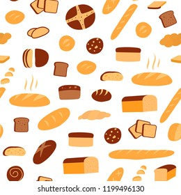 Vector seamless pattern of different kinds of bread. Bakery products. Vector bread and pastry.