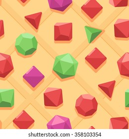 Vector seamless pattern. Different multicolored dices. Cube, tetrahedron, octahedron, decahedron, dodecahedron, icosahedron.