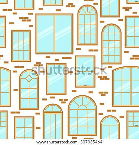 Vector Seamless Pattern Different Types Windows Stock Vector
