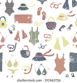 3355fda950d3 Vector seamless pattern with different vintage fashion clothing and  elements  swimsuits