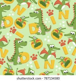 vector seamless pattern with dinosaurs cartoon