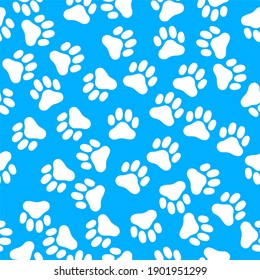 Vector seamless pattern with dog footprints. cloth.