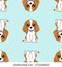 Vector seamless pattern with dogs with Cavalier King Charles Spaniel breeds of white and brown fur, with long ears and curly hair. Can be used as a background, wallpaper, fabric and for other design.