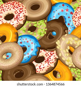 Vector seamless pattern of donuts with sprinkling and icing for world donut day. On a dark chocolate background