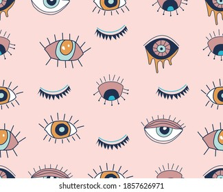 Vector seamless pattern with doodle drawing evil eye. Magic, witchcraft, occult symbol, line art collection. Hamsa eye, magical eye, decor element. Good for Fabric, textile, giftware, wallpaper.