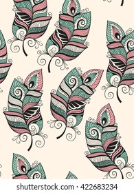 Vector Seamless Pattern with Doodle Feathers