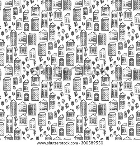 vector seamless pattern doodle houses 450w