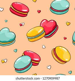Vector seamless pattern with doodle macaroons and hearts. Valentine's day pattern with cute cartoon macaroons. Hand drawn image with heart shape french macaroons. For fabric and wrapping paper.