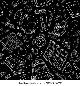Vector seamless pattern of doodle school supplies on blackboard. Black and white back to school sketchy elements