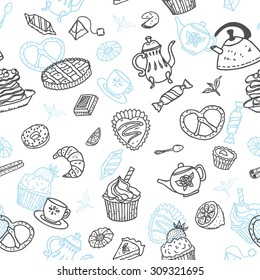 """Vector seamless pattern with doodle """"Tea and sweets"""" elements. Perfect for menu  decoration, interior cafe design or tissue print."""