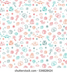 Vector Seamless pattern with doodle Toys. Kids background. Childhood Endless wallpaper