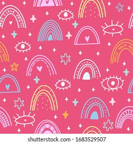 vector seamless pattern with doodles. mystical theme, magic boho style. Rainbow, all-seeing eye. Cartoon pink background