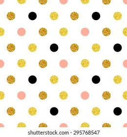Vector seamless pattern with dots of rose gold and black. Gold dots, sparkles, shining dots. Paddle, children's background.