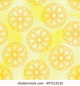 Vector seamless pattern with dotted orange lemon slice on the yellow background. Decor with fruits elements in trendy dotwork style. Summer background with decorative dotted citrus.