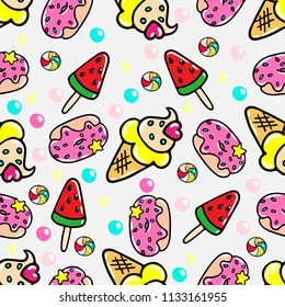 Vector seamless pattern with doughnuts, ice-creams and sweets