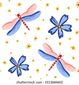 vector seamless pattern with dragonflies and flowers on white background