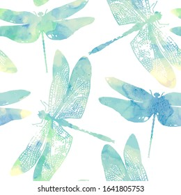 Vector seamless pattern with dragonflies in watercolor style.