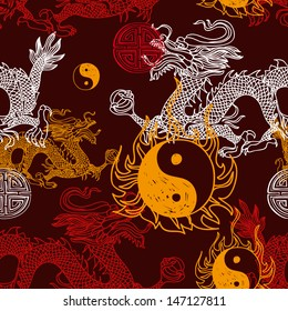 Vector seamless pattern with Dragon,yin yang and blessing symbol. Modern stylish texture. Repeating background.