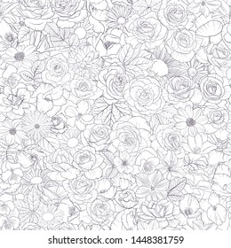 vector seamless pattern with drawing flowers, decorative floral background, hand drawn botanical illustration,coloring page