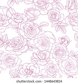 vector seamless pattern with drawing flowers, decorative floral background, hand drawn vintage botanical illustration