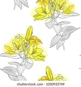 vector seamless pattern with drawing yellow lily flowers, floral background with watercolor spots, hand drawn illustration