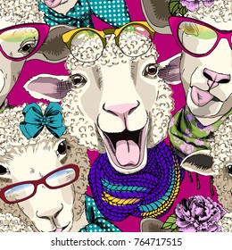 Vector seamless pattern with dressed sheep. Sheep hooligan. 1