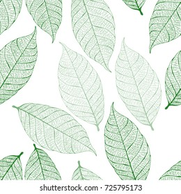 Vector seamless pattern with dry autumn leaves
