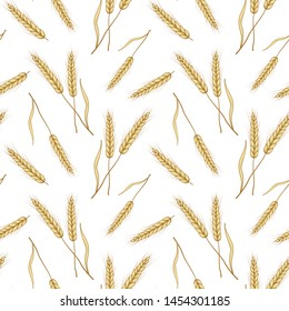 Vector seamless pattern with ears of wheat. Isolated on white. Whole grain, organic, for bakery package, bread products, web design.