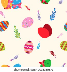 Vector seamless pattern, easter eggs in a flat style and stylized plants