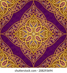 Vector seamless pattern in Eastern style. Golden element for design. Ornamental lace tracery on purple background. Ornate floral decor for wallpaper. Endless texture. Bright pattern fill.