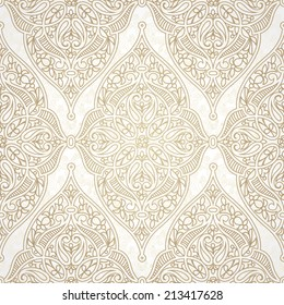 Vector seamless pattern in Eastern style. Beige monochrome element for design. Ornamental lace tracery on light background. Ornate floral decor for wallpaper. Endless texture. Pastel pattern fill.