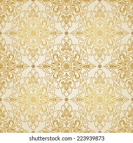 Vector seamless pattern in Eastern style. Monochrome element for design. Ornamental lace tracery on light background. Ornate floral decor for wallpaper. Endless vintage texture. Golden pattern fill.