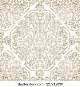 Vector seamless pattern in Eastern style. Beige monochrome element for design. Ornamental vintage tracery. Ornate floral decor for wallpaper. Endless vintage texture. Light pattern fill.