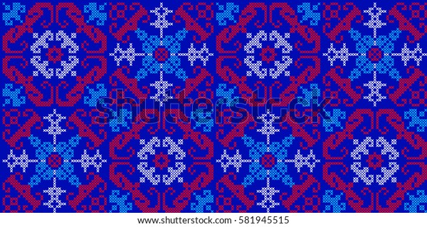 Vector seamless pattern in Eastern style. Ethnic Embroidered Handmade Ornament Made from Stitches for Textile Design, Greeting Cards, Background, Invitations, Wrapping, Wallpaper, Jacquard, Tapestry.