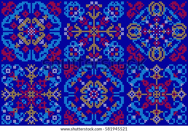 Vector seamless pattern in Eastern style. Ethnic Embroidered Handmade Ornament Made from Stitches for Textile Design, Greeting Cards,Background, Invitations, Wrapping, Wallpaper, Jacquard, Tapestry.