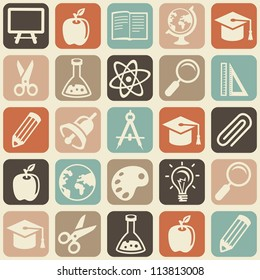 Vector seamless pattern with education icons - abstract background