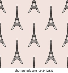 vector seamless pattern with Eiffel Tower . Paris romantic background