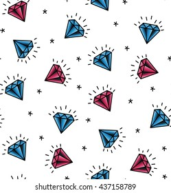 Vector seamless pattern with elements diamond. Pattern old school tattoos. Background fabric. background Hipsters