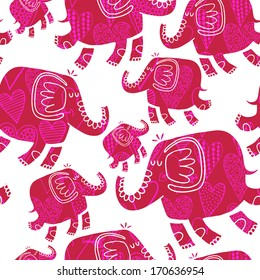 Vector seamless pattern with elephants and hearts