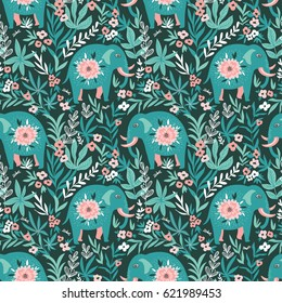 Vector seamless pattern with elephants in the jungle. Tropical background for fabric or wallpaper boho design.