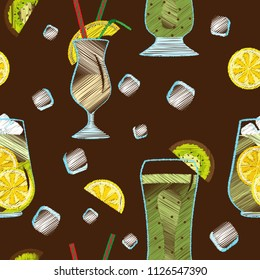 Vector seamless pattern of embroidered wine glasses with fruit cocktails and ice cubes. On a chocolate background