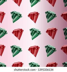 Vector seamless pattern with emeralds and rubins .Pink background.