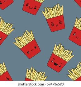 Vector seamless pattern of emotional fries. Cute fast food