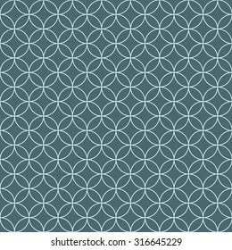 Vector seamless pattern. Endless texture can be used for printing onto fabric and paper or scrap booking. Blue and white style pattern with circles and lines.