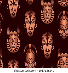 Vector seamless pattern with ethnic African masks on a dark background