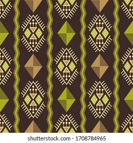 Vector seamless pattern with ethnic elements. Geometric abstract background with oriental folk motifs. Design with ornament for textile or paper.