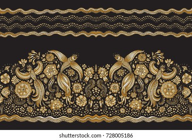 Vector seamless pattern in ethnic style. Exotic flying birds, golden contour line drawing with folk ornaments on a black background. Embroidery silhouette, wallpaper, textile print, wrapping paper
