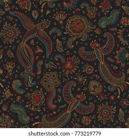 Vector seamless pattern in ethnic style.Exotic flying birds, colorful contour thin line drawing with folk ornaments on a black background. Embroidery silhouette, wallpaper, textile print, wrapping pap